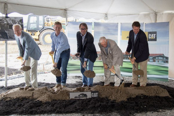 Indianapolis headquarters groundbreaking ceremony held June 20, 2015. From left: Dave Baldwin, Alex MacAllister, Chris MacAllister, P.E. MacAllister, Doug Clark.