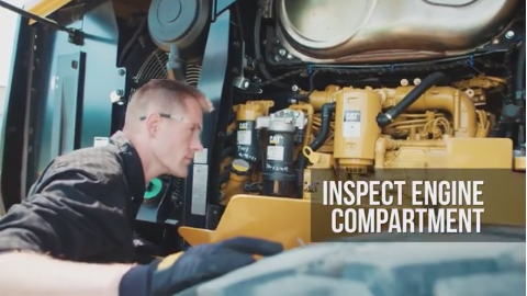 walk around inspection for small wheel loader engine